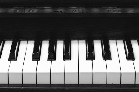 boehm system: Closeup keyboard of piano, musical instrument Stock Photo