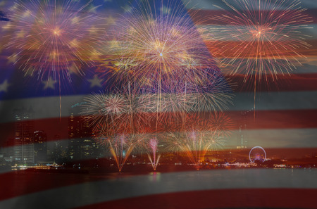 Multicolor Fireworks Celebrate over the United state of America USA flag background, Independence day concept