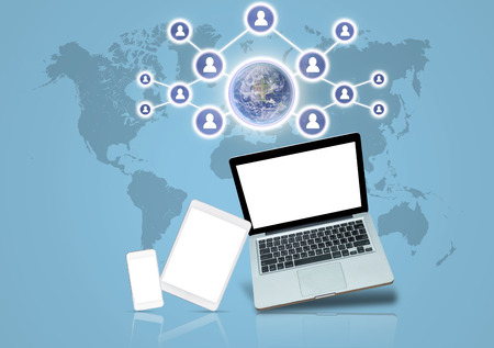 devise: Social network with Technology devise on world map background