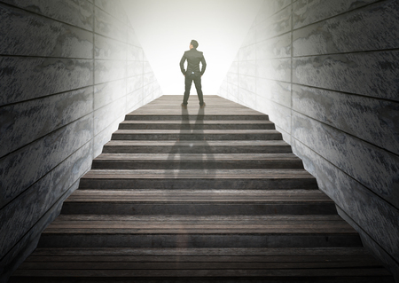 climbed: Businessman climbed on top of the stairs ,Success business and Ambitions concept