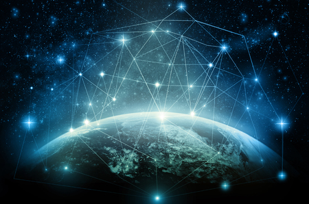 Part of earth with network line and point on the star and Milky Way background, Internet Network concept Banco de Imagens - 64702733