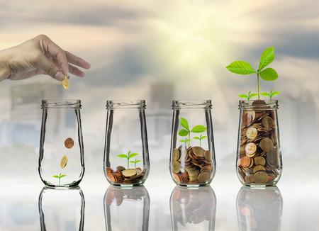 Hand zetten Gouden munten en zaad in duidelijke fles op stadslandschap foto wazig stadsgezicht achtergrond, investeringen van het bedrijfsleven groei concept