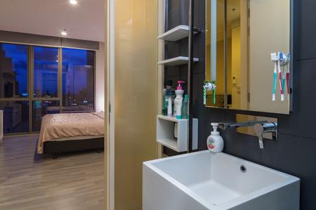 luxury bedroom: Luxury Interior bathroom include bedroom Stock Photo