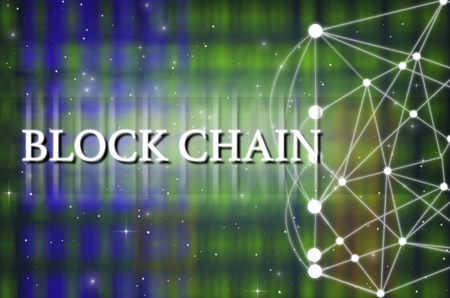 Block chain Text on Technology connection background, Distributed ledger technology, block chain network conncept