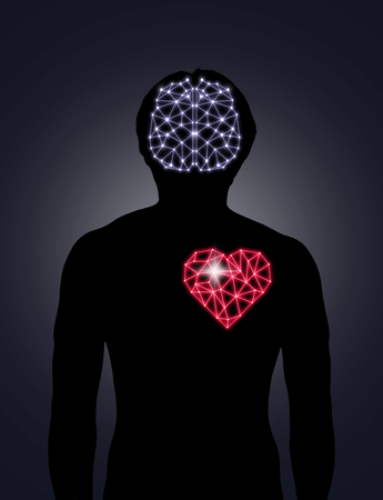 Silhouette of human body with technology line and dot of polygonal shape brain and heart, Science healthy education concept, physician technology with network connections and science healthy concept