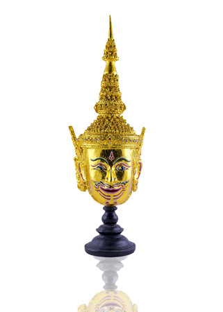 Khon, Thai ramayana mask in native Thailand style on the white background, isolate object, include clipping path
