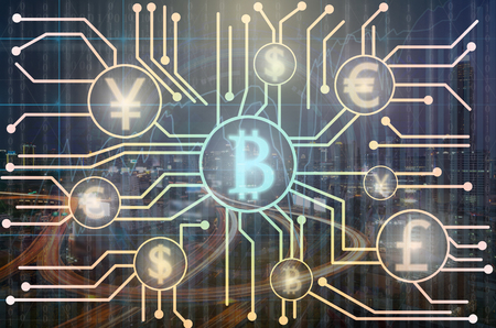 Abstract photo of FINTECH connection over the Trading graph on the cityscape at night background,Business financial concept, Showing the cryptocurrency or digital money
