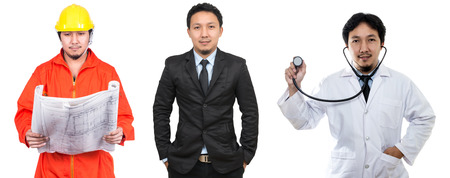 Portrait of three occupation with the same model, southeast asian businessman, engineering and doctor on white background, include clipping path Фото со стока