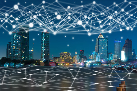 Communication network of Bangkok cityscape river side at twilight time, Technology Smart City with Internet of Things concept