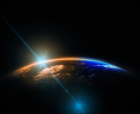 Part of earth with sun rise and lens flare background, Internet Network concept, Elements of this image furnished by NASA Archivio Fotografico