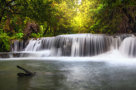 Beautiful waterfall in the forest, huay mae khamin waterfall, Kanchanaburi province, thailand, Nature travel concept