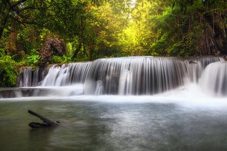 Beautiful waterfall in the forest, huay mae khamin waterfall, Kanchanaburi province, thailand, Nature travel concept