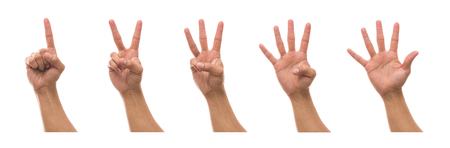 Five picture of Men hand showing the number collection in front side over white background, include clipping path Stock Photo