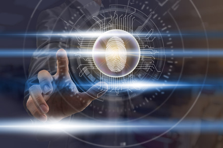 Businessman Fingerprint scan for support security access with biometrics identification over the digital virtual screen background, Business Technology sceurity Concept.