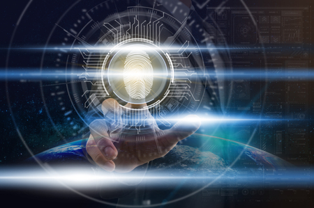 Businessman Fingerprint scan for support security access with biometrics identification over Part of earth background, Business Technology sceurity Concept Stock Photo