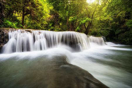 Beautiful waterfall in the forest, huay mae khamin waterfall, Kanchanaburi province, thailand, Nature
