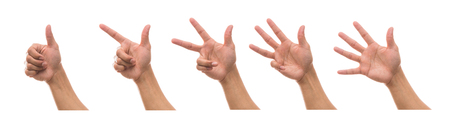 Sum 5 picture of Men hand in front side with show number collection over white background Stock Photo