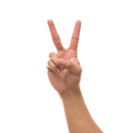 Men hand showing the number two over white background, include clipping path Stock Photo