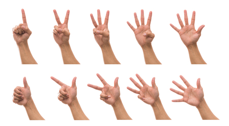 Sum 10 picture of Men hand in front side with show number collection over white background, include clipping path