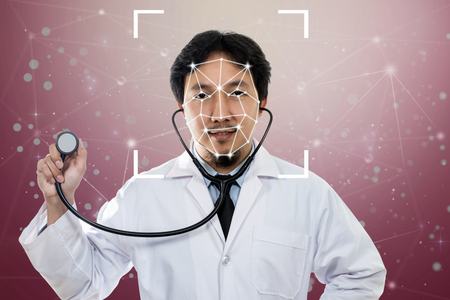 Asian Doctor Face detection and recognition, Biometric Verification,  Computer vision and artificial intelligence concept