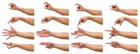 Various gesture of Men hand over white background, include clipping path