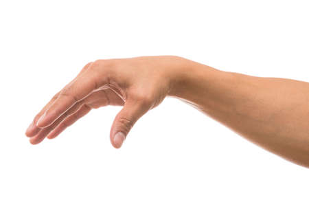 Men hand showing the multi action over white background, include clipping path