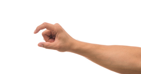Men hand showing the multi action over white background