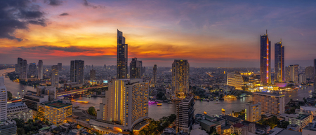 Panorama of Bangkok cityscape river side Modern building at Fantastic twilight time,Thailand Banco de Imagens