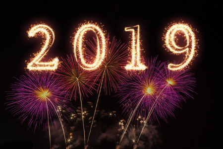 2019 written with Sparkle firework on fireworks with dark background, Happy new year celebration and greeting cards concept