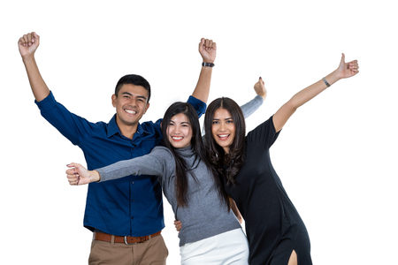 Portrait of three asian model with casual suit in happiness action on white background, friendship and teamwork concept, include cliping path