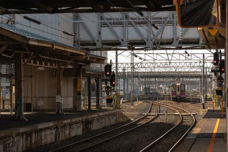 TOKYO, JAPAN - OCT, 2017 : JR Train coming to Aomori platform on October 26, 2017 at the Aomori station, Japan.  JR is the biggest railway companies in japan