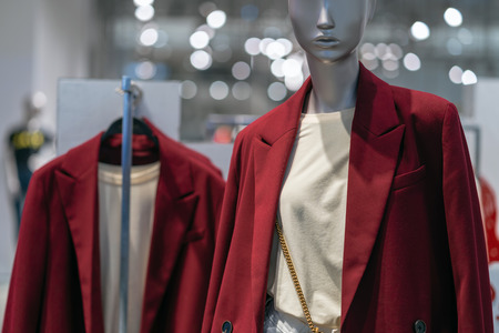 Part of female mannequin dressed in casual clothes in the shopping department store for shopping, business fashion and advertisement concept