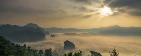 Banner of Fantastic Landscape of Misty Mountain over Phu Lanka mountain hills, Phayao province, north of Thailand.cover and banner concept Banco de Imagens