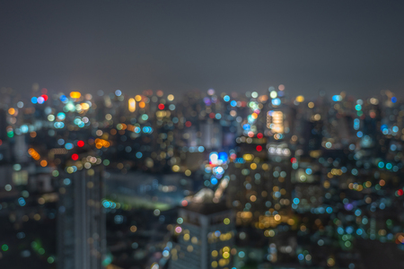 Abstract Photo blurred bokeh of bangkok cityscape at twilight time, background concept Banco de Imagens