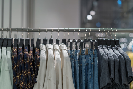 clothes line in glasses shop at shopping department store for shopping , business fashion and advertisement concept