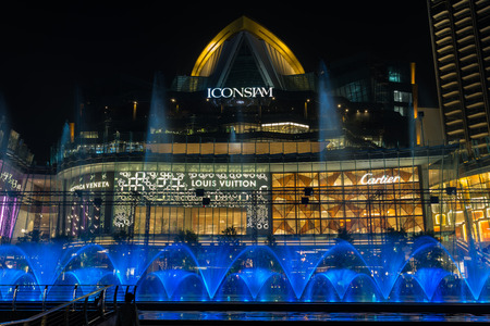 BANGKOK - JAN, 2019 : Undefined Dancing Fountain Show in ICONIC Multimedia Water Features at iconsiam department store on January 31, 2019 in Bangkok, Thailand.