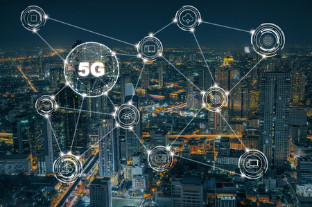 5G technology with various icon internet of thing over the closeup Bangkok cityscape, Wireless communication connection network concept. Banco de Imagens