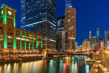 The Chicago riverwalk cityscape river side, USA downtown skyline, Architecture and building with tourist concept 版權商用圖片