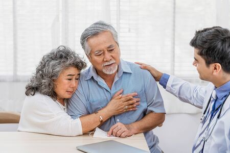 Doctor using stethoscope for auscultate Asian grandparent patient in house, service Life insurance at home, healthcare with Long live and Elderly society, Prevent epidemic concept