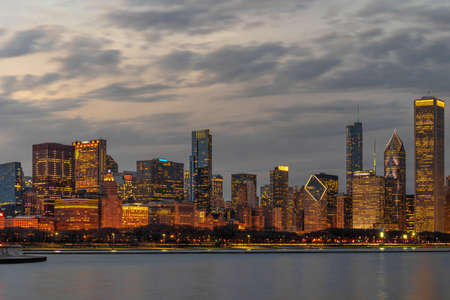 Panorama of Chicago Cityscape river side along Lake Michigan at beautiful twilight time, Illinois, United States, building and real estate,Business Architecture and building,travel and tourist concept