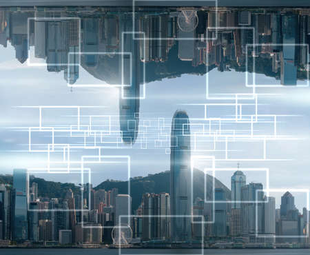 Technology Internet of thing over the Hong Kong Cityscape skyscaper at the noon, Business Architecture and building with tourist concept, Technology smart city and internet of thing concept,
