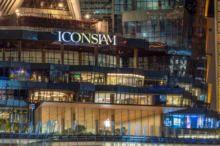 BANGKOK, THAILAND - NOVEMBER 2018 : Apple store with under construction at the rehearsal day on November 8, 2018 in bangkok, Thailand, Apple will reportedly launch its first Thai store at Icon Siam
