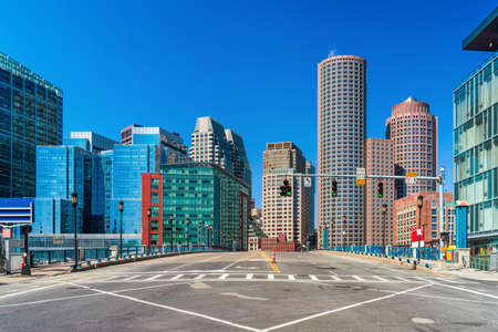 Boston Cityscape under blue sky, Massachusetts, USA downtown skyline, Architecture and building with tourist, low traffic with great reset concept Zdjęcie Seryjne
