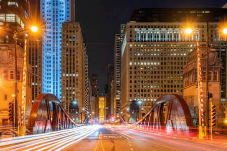 Scene of Chicago riverwalk cityscape at the twilight time, USA downtown skyline, illinois, United state of america, Architecture and building,travel with tourist concept Zdjęcie Seryjne