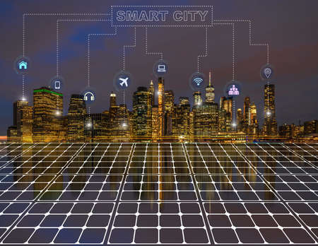Technology connection line of Smart City Solar cell reflection with New York cityscape, network connection with wireless technology, fuel power generation and solar cell energy concept