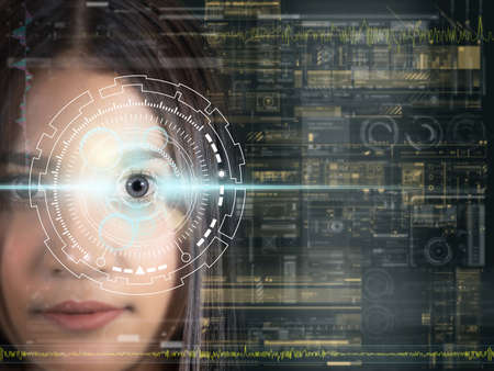 Asian women being futuristic vision, digital technology screen over the eye vision background, security and command in the accesses. surveillance and sefety concept Zdjęcie Seryjne