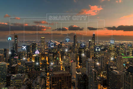 Technology connection line of Smart City over Chicago cityscape river side at the sunset time, network connection with wireless technology, centralized management and global communications concept Zdjęcie Seryjne