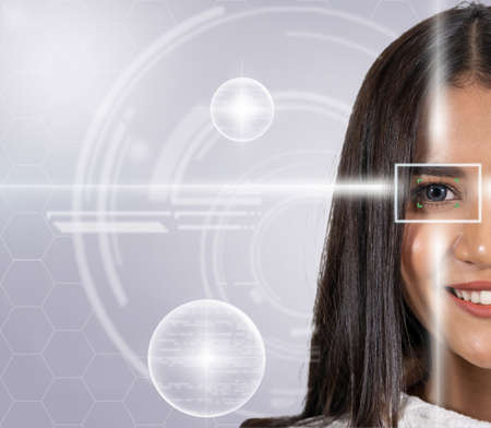 Eye scanning of asian young woman by laser light over the digital virtual technology background, vision and identification concept