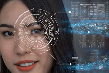 Asian women being futuristic vision, digital technology screen over the eye vision background, security and command in the accesses. surveillance and sefety concept