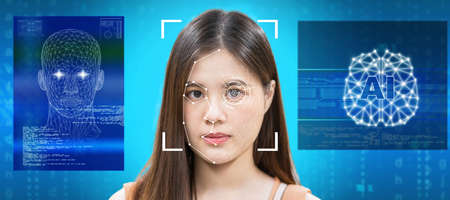 surveillance and safety concept, Asian women using Face detection and Facial Recognition technology with AI and Brain platform for access permission